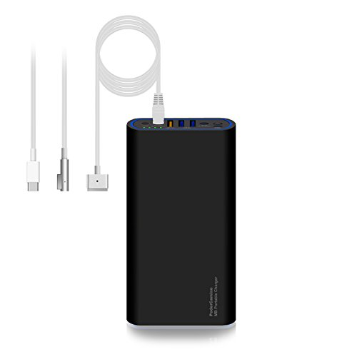PoderCamino 98Wh Carry On Power Bank External Battery Portable Charger for MacBook Pro 15 13 Retina MacBook Air 13 11(Connector MagsafeL Magsafe2) 3 USB QC Fast Charging for Tablet Smartphone -MB2680