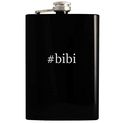 - #bibi - Black 8oz Hashtag Hip Drinking Alcohol Flask