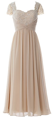 Evening Maxi Cap Dress Formal Champagne Gown Mother Bride Macloth Women Lace Sleeves Of qZnAt6