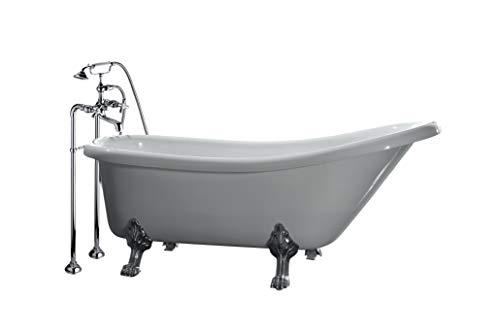 Ove Decors Clawfoot 66-Inch Freestanding Acrylic Bathtub with Freestanding Faucet, Glossy White