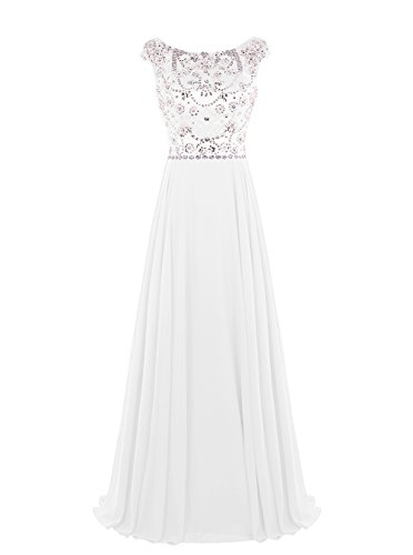 Tideclothes Long Beading Prom Dress Chiffon Cap Sleeves Evening Dress Ivory US26Plus (Big Poofy Dresses)