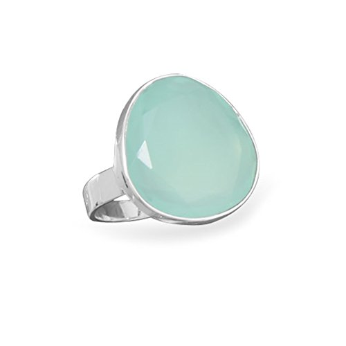 Freeform Faceted Dyed Sea Green Chalcedony Ring Sterling Silver from AzureBella Jewelry