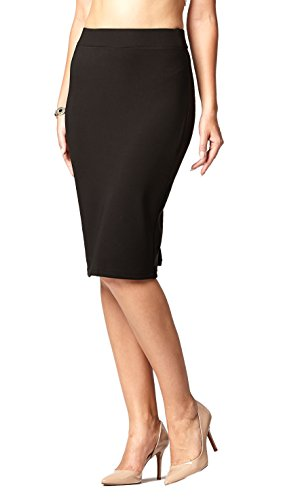 Premium Stretch Pencil Skirt for Women with Slit - Pull On Elastic Waistband - Bodycon Midi Skirts - Black - Large