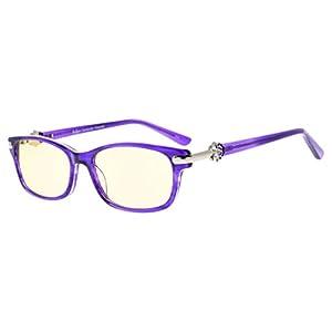 Eyekepper Womens Computer Glasses-Anti Blue Light Eyeglasses-Acetate Frame For Small Face, Amber Tinted Lenses (Purple,+0.00)