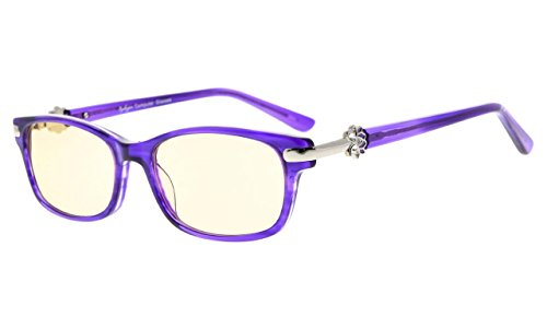 272a0f1d811a Eyekepper Womens Computer Glasses-Anti Blue Light Eyeglasses-Acetate Frame  For Small Face, Amber Tinted Lenses (Purple,+0.00)