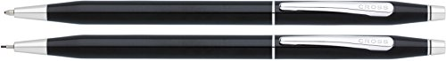 Cross Classic Century Black Lacquer Ballpoint Pen & 0.7mm Pencil with Chrome Appointments