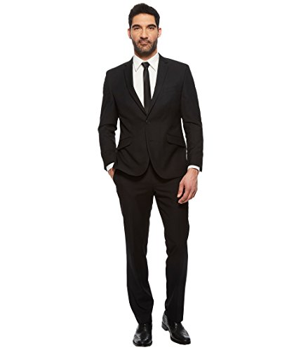 Kenneth Cole Unlisted Men's 2 Button Slim Fit Suit with Hemmed Pant, Dark Black Pindot, 40R by Unlisted by Kenneth Cole