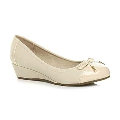 Ajvani Women's Low Mid Heel Wedge Bow Smart Dolly Ballerina Court Shoes Size 6 37 Nude