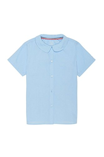 French Toast Big Girls' Short Sleeve Peter Pan Collar Blouse, Light Blue, 16 by French Toast