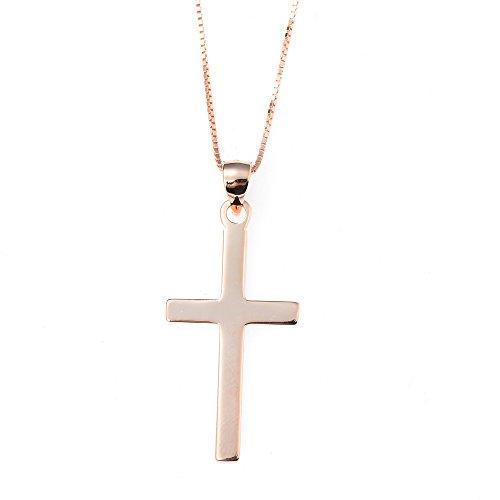 BellaMira Women's Sterling Silver Rose Gold Cross Pendant Crystal Gemstone Handmade Necklace In Gift Box (Rose Gold Sterling Silver Necklace) -