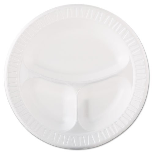 3 Compartment Plate Foam (Dart Foam Plastic Plates, 10 1/4 Inches, White, Round, 3 Compartments, 125/Pack - 4 packs of 125 plates. 500 per case.)
