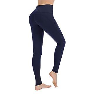 PUNZYMO Leggings for Women with Pockets, Yoga Pants Workout Leggings High Waist Tummy Control Navy Blue