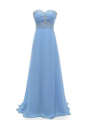Grace Lee Womens Porm Dresses Long Beaded Sweetheart Chiffon Evening Gowns