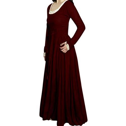 Retro Fancy Dress Women Crewneck Long Sleeve Slim Fit Gothic Medieval Renaissance Maxi Costume Cosplay Party Clothes (M, Wine) ()