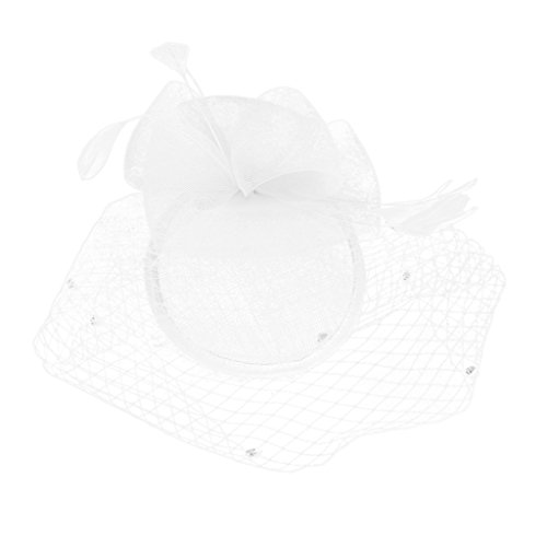 Bridal Fish Net Face Veil Feather Fascinator Hair Clip Wedding Party Headpiece - White (Mini Hat With Veil)