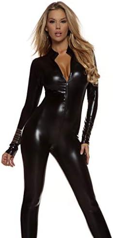 Details about  /Forplay Opulent Outline Skeleton Black /& Metallic Silver Halter Catsuit Costume