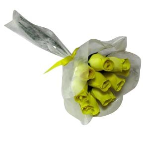Wood Rose Bouquet of 12 Yellow Roses