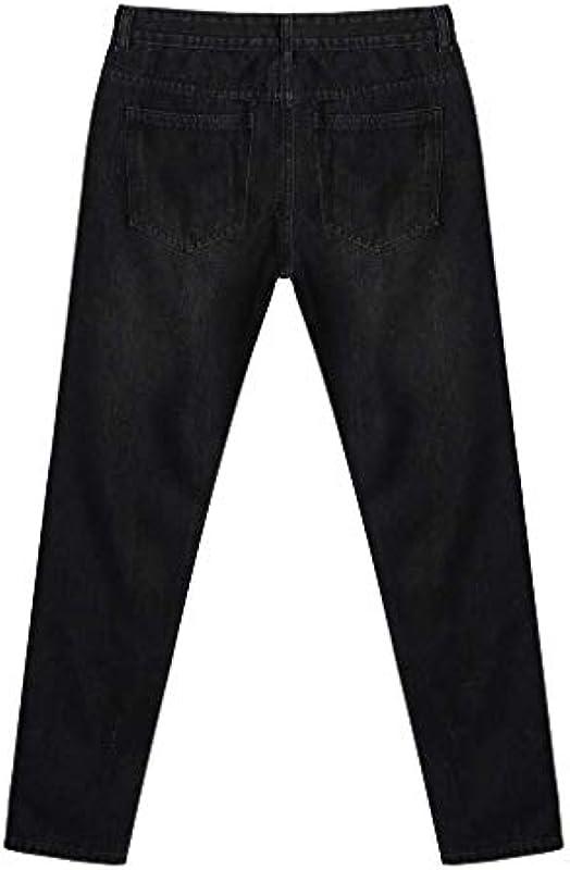 BOLAWOO Skinny Stretch Denim Męskie Für Distressed Ripped Hose Freyed Mode Marken Slim Fit Jeanshose Męskie Hose Lose Freizeit Męskie Herbst Denim Straight Ripped (Color : Schwarz55, Size : 2XL): Odzież