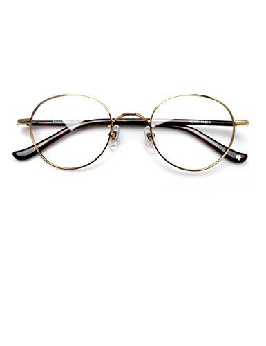 Komehachi - Delicate Unisex Oval Circle Thin Full Rim Prescription Ready Clear Lens Reading Eyeglasses School Eyewear - Prescription Thin Lenses