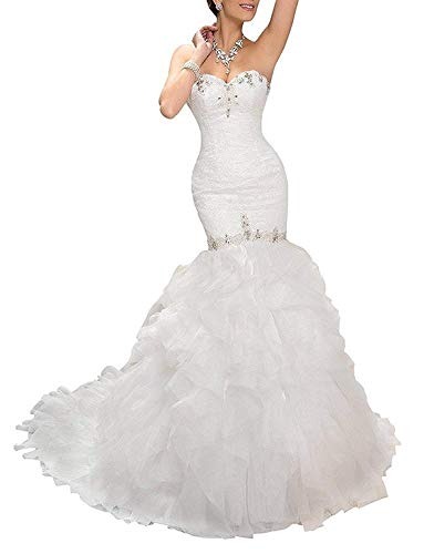 Wanshaqin Women's Mermaid Sweetheart Strapless Beaded Wedding Dress for Brides Organza Ruffled Bridal Gowns Plus Size White