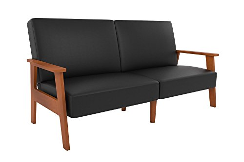 Novogratz Asher Sofa Futon with Multi-position Back in Faux Leather Upholstery, Wood Frame, Black - Practical and stylish mid-century convertible sofa with multi-position Back Perfect small space solution Convertible futon Sleeper is ideal for sleeping, sitting and lounging - sofas-couches, living-room-furniture, living-room - 31mwXwvLg0L -