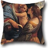 Pillow Cases 16 X 16 Inches / 40 By 40 Cm(each Side) Nice Choice For Birthday,festival,adults,bar,boy Friend,couch Oil Painting Lorenzo Garbieri - Madonna With The Child, Saint Cecily And Saint Albert