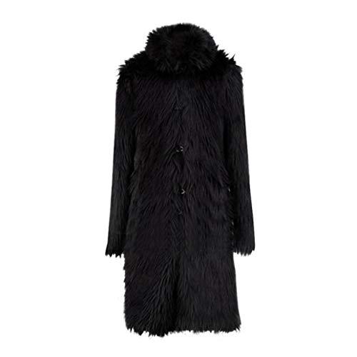 baskuwish Men Blouse Mens Fashion Faux Fur Cardigan Zip Fly Hooded Parka Outwear Winter Warm Plus Thicker Long Coat Jacket (M, Black)