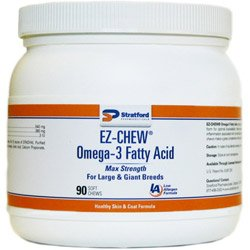 EZ-CHEW Omega-3 Fatty Acid - Max Strength Soft Chews [Large & Giant Breeds], 90 Count