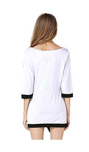 Arjosa Extensible Manches D'élasticité 1/2 Femmes Ourlet Irrégulière Robe Moulante Courte # 1 Blanc