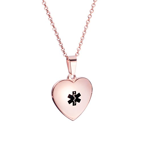 (linnalove Pre-Engraving Type 1 Diabetes - Heart Charm Medical ID Alert Necklaces for Women & Girl(Rose Gold))