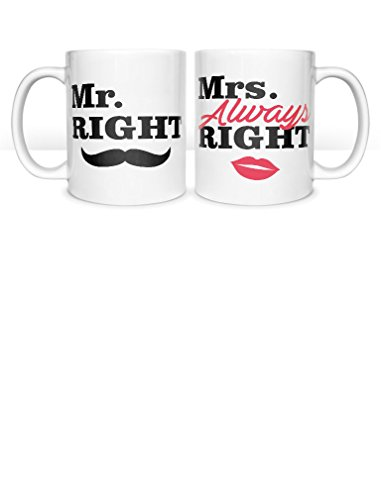 Tstars Mr. Right & Mrs. Always Right Coffee Mug Gift for Couples - Wedding, Anniversary, Newlywed Gifts Matching Set for Husband & Wife, Mom & Dad Valentine's Gift His & Hers Set of Mugs 11 Oz. White