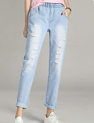 Jeans Blue Colored Light Solid Femme Basic YFLTZ pour Pantalon Hole fwAn6qPH