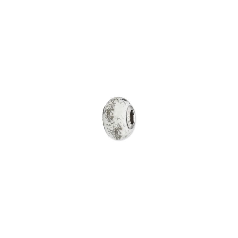 White w/Platinum Foil Ceramic Bead & Sterling Silver Charm, 14mm