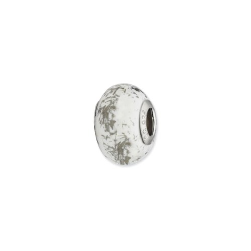 White w/Platinum Foil Ceramic Bead & Sterling Silver Charm, 14mm