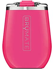 BrüMate Uncork'd XL 14oz Insulated Wine Glass Tumbler with 100% Leak-Proof Lid - Made with Vacuum Insulated Stainless Steel (Neon Pink)