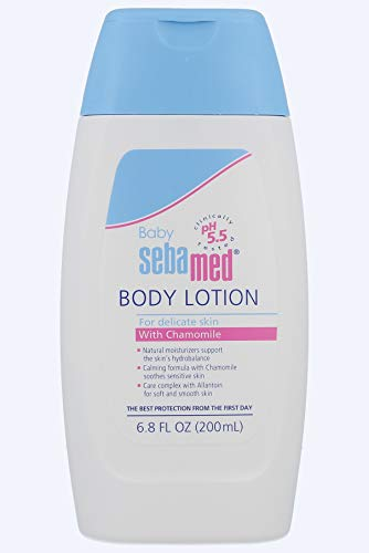 (Sebamed Baby Lotion pH 5.5 Ultra Mild Dermatologist Recommended Moisturizer for Sensitive Skin and Delicate Skin 6.8 Fluid Ounces (200 Milliliters) )