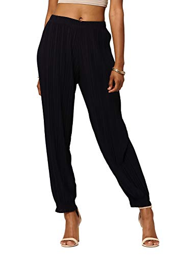 Conceited Women's High Waisted Wide Leg Pleated Harem Pants with Cuff Detail- Cuffed Navy Blue - One Size - 903-Navy-Reg