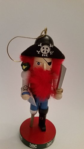 - very cute Pirate with Red Beard, eye patch, peg leg, bird on shoulder with sword! NutCracker Ornament (preowned)
