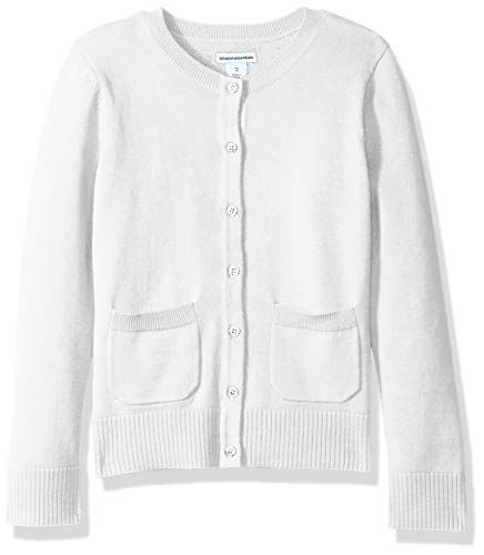 (Amazon Essentials Toddler Girls' Uniform Cardigan Sweater, Snow White, 4T)