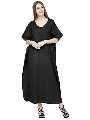 SKAVIJ Maxi Length Caftan Embroidered Cotton Kaftans Women Nightgown Plus Size Ladies Gift Item Black