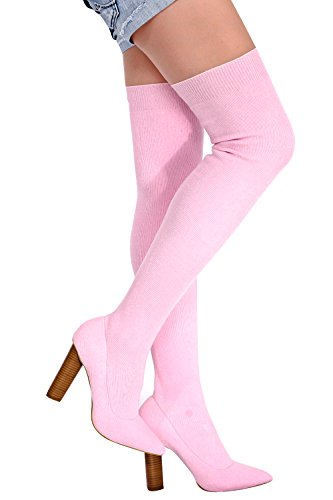 LOLLI COUTURE STRETCH KNIT POINTED TOE THIGH HIGH HEEL CHUNKY BOOT 11 pinkknit Chunky Knit Boot
