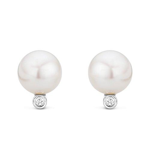 Miore - Boucles d'Oreilles Femme - Or blanc 375/1000 (9 carats) - perles et diamants - 0.03 cts