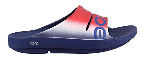 OOFOS Unisex OOahh Sport Slide Sandal Red, White/Blue