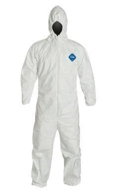 Tyvek 400 Hooded Disposable Coveralls with Elastic Cuff, White, XL,  (Set of 25/EA)