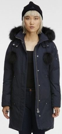 Moose Knuckles Women's Sterling Parka With Fur Trim Hood, Navy, Small