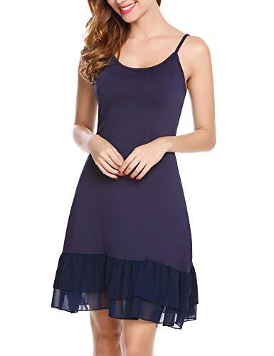 Zeagoo Women's Adjustable Spaghetti Strap Chiffon Ruffle Camisole Dress Extender,X-Large,Navy (Navy Spaghetti)