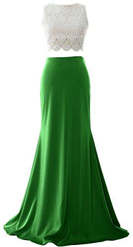 MACloth Women Mermaid 2 Piece Long Prom Dress 2017 Jersey Formal Evening Gown Verde