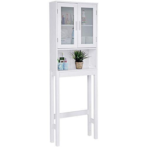 - Giantex Over-The-Toilet Bathroom Storage Space Saver with Shelf Collect Cabinet, White (2 Glass Door w/Shelf)