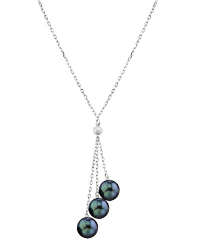 (THE PEARL SOURCE 14K Gold 7.5-8.0mm AAA Quality Round Black Japanese Akoya Saltwater Cultured Pearl Tincup Cluster Pendant Necklace in 17