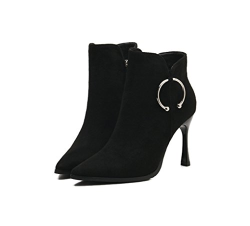 Metal Black Pointed and Slim Boots Heel Winter High Boots Autumn Female XZ Boots Short Martin 5YHw6nqTxz